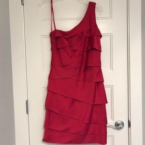 Hot pink one shoulder dress